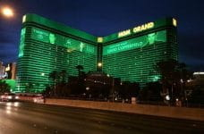 The MGM Grand in Las Vegas at night.
