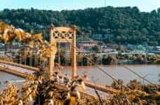 The Roberto Clemente Bridge and cityscape in Pittsburgh, Pennsylvania.