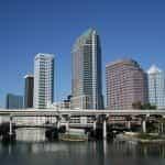 Tampa Florida city skyline of skyscrapers.