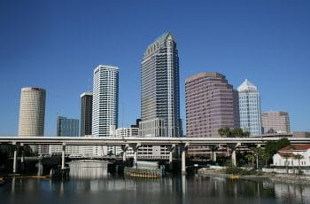 Tampa Florida city skyline of skyscrapers.
