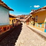 A steep and colorful street in Antioquia, Colombia.