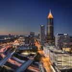 Atlanta Georgia city skyline at night.