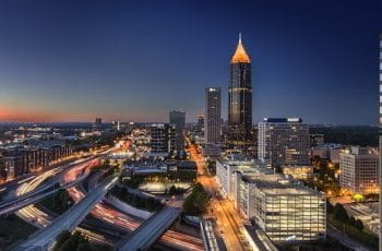 Atlanta Georgia city skyline at night.