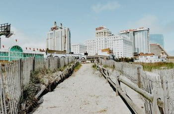 Casinos along Atlantic City boardwalk.