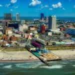 Atlantic City skyline and beach with casinos.