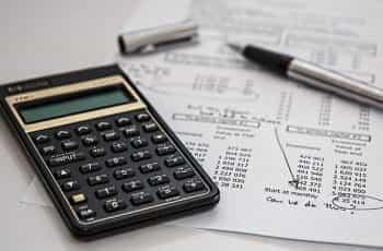 Balance sheet and calculator.