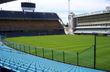 An empty soccer stadium in Buenos Aires, Argentina.
