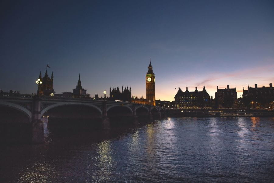 London bridge and the Houses of Parliament at night.