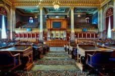 Interior of an empty House of Representatives building.
