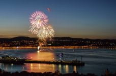 Fireworks over the Douglas Bay in the Isle of Man, UK.