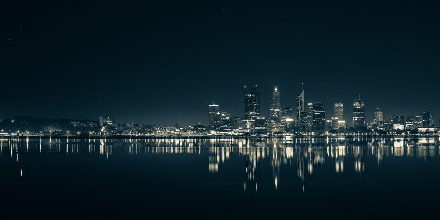 The bay skyline in Perth at night.