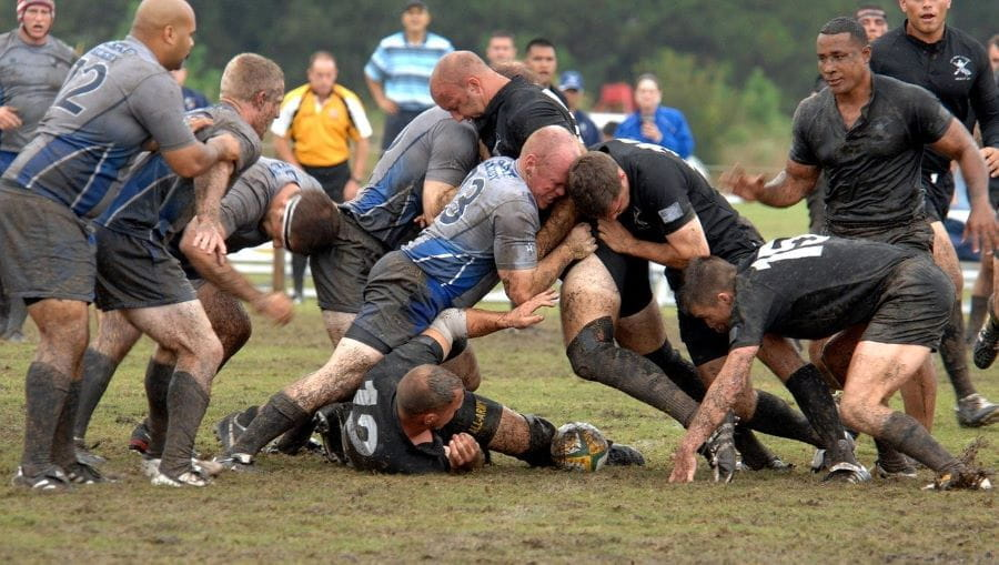 Rugby players in a scrum.