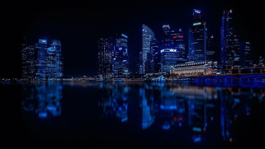 Singapore skyline night.