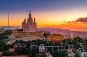 Sunset over the skyline in Barcelona, Spain.