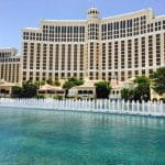 Bellagio Hotel in Las Vegas exterior with fountain.