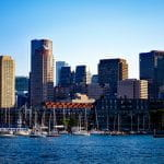 Boston city skyline with skyscrapers.