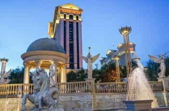 Caesars Palace in Las Vegas at dusk.
