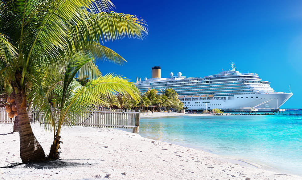 A cruise ship in a tropical location, with a beach, blue seas and a palm tree.