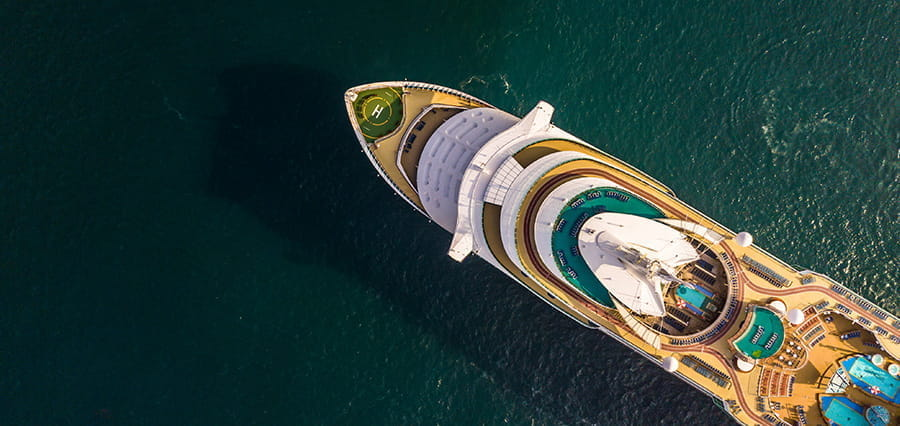 A cruise ship, shown from above.