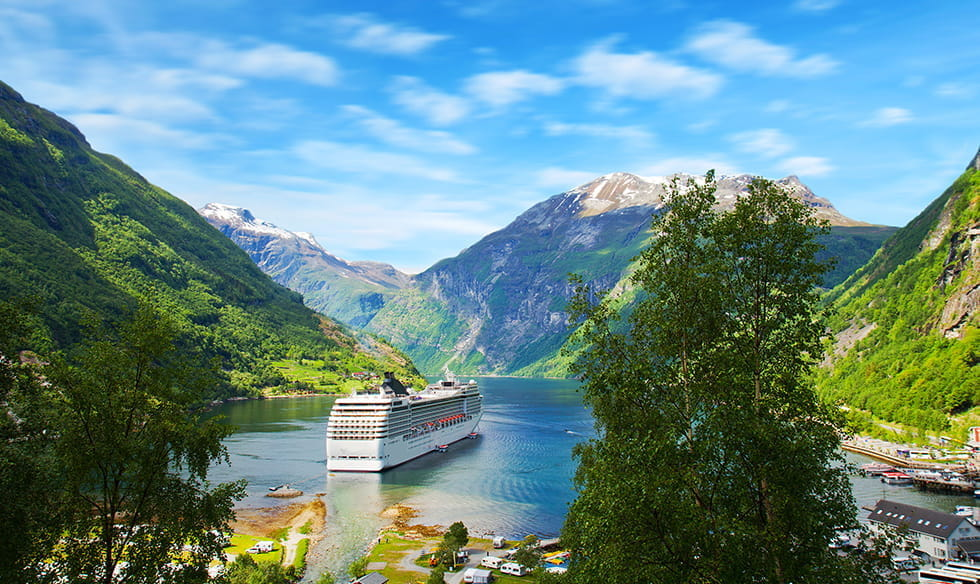 A cruise ship on a Norwegian fjord.