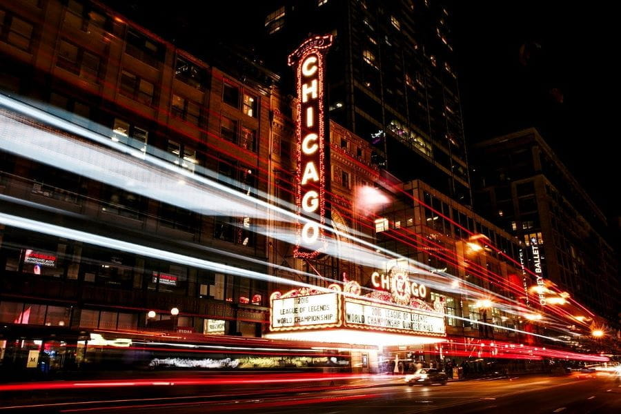 Chicago building with long exposure lights in neon.