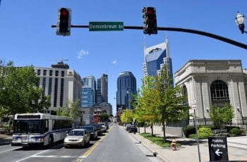 Downtown street of Nashville Tennessee.