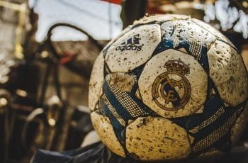 Football with Real Madrid logo.