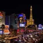 Las Vegas casinos at night.