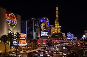 Las Vegas casinos at night.