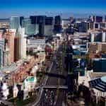 Las Vegas skyline with casino resorts.