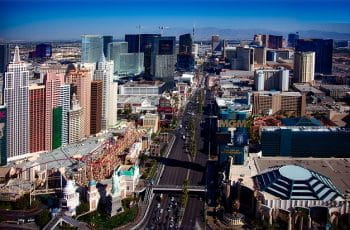 Las Vegas skyline with casino resorts.