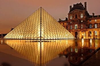 The glass pyramid outside the Louvre in Paris.