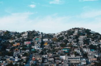 Many homes crowded on a hill in Monterrey, Mexico.
