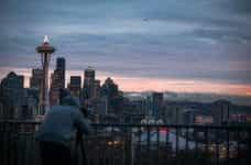 The sunrise over the skyline in Seattle, Washington.