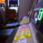 Controls of slot machines at casino.