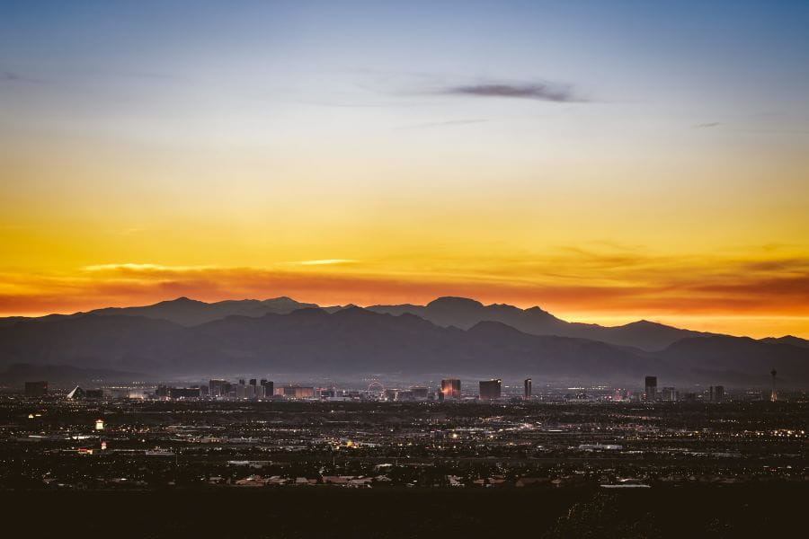 Sunset over the Las Vegas strip, seen from a distance.