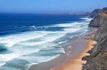 A beach in the Algarve in Portugal.