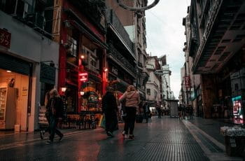 A commercial street in Buenos Aires, Argentina.