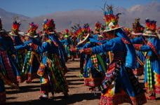 Andean dancers wear traditional festive costumes in Ayquina, Chile.