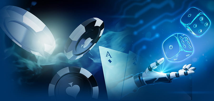 Casino chips, playing cards and dice along side a robotic arm, with electric blue lighting.
