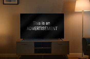"A TV screen, with the words ""This is an ADVERTISEMENT""."