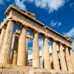 The ancient Parthenon in Athens, Greece.