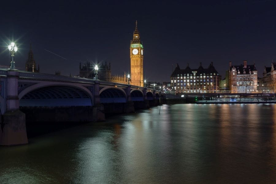 Big Ben and the houses of Parliament at night, with River Thames.