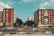A quiet residential street in Montevideo, Uruguay.