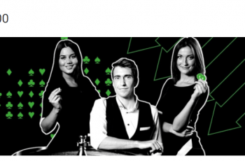 A banner for the Go Live for £100,000 offer at Unibet, with three live casino croupiers.