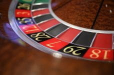 The corner of a roulette wheel.