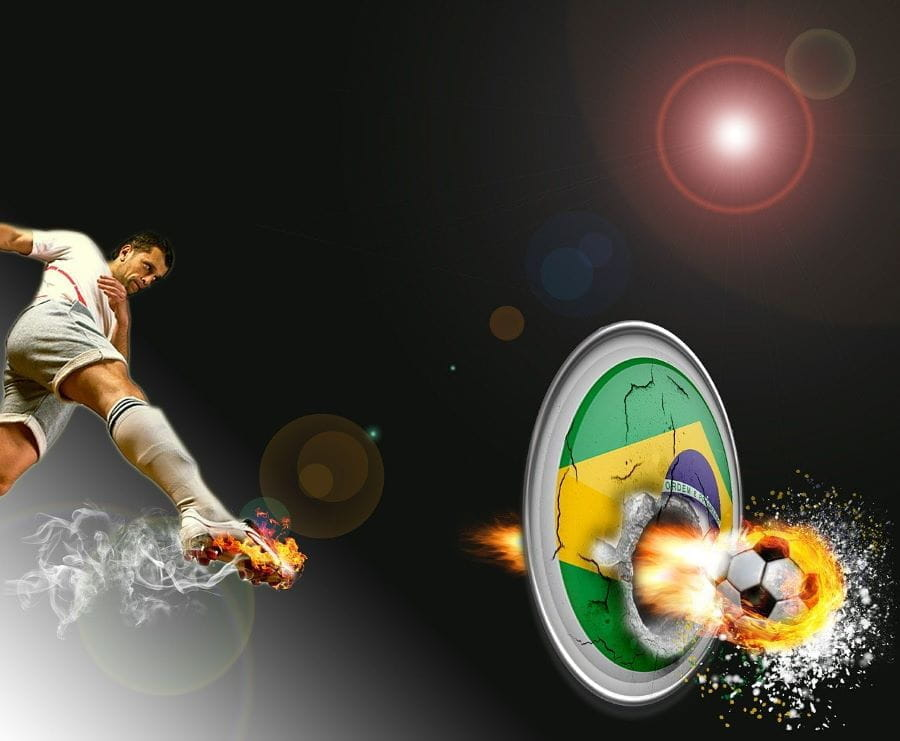 A Brazilian soccer player wearing a white uniform, who kicks a ball through a graphic of the national flag.