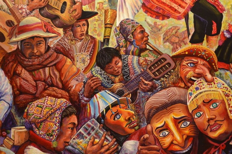 A colorful mural depicts the Carnival festival in Cusco, Peru.
