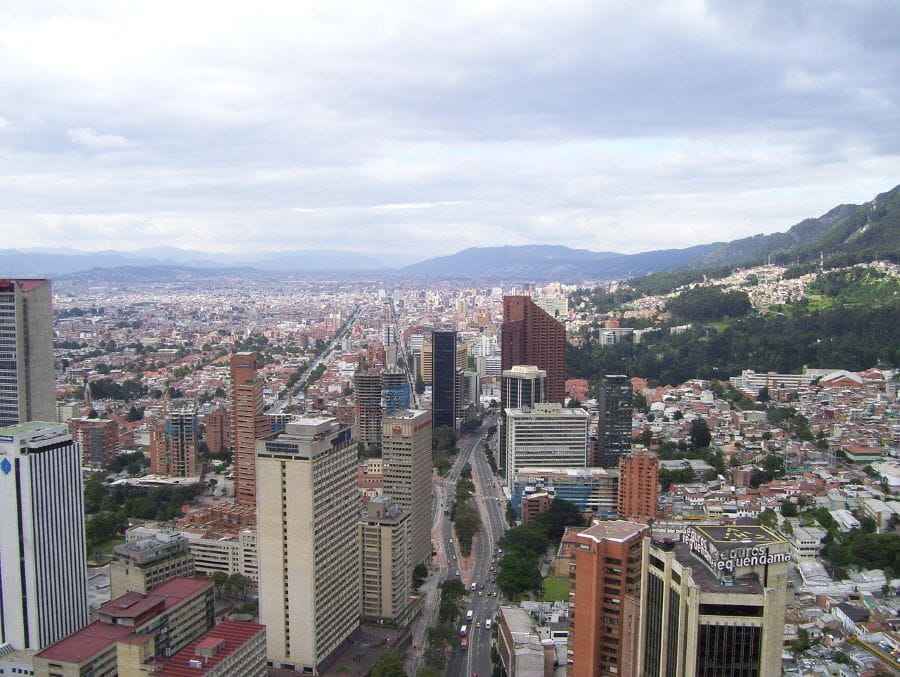 The city skyline of Bogotá, Colombia, during the day.