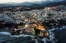 The coastline in Malaga, Andalusia, Spain.